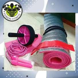 Kit rueda abdominal, tapete, lazo siliconado, banda elástica y colchoneta Rueda+tapete