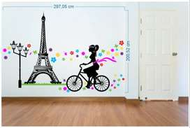 Vinilo Decorativo Torre Eiffel Bicicleta Flores Multi Colores Pared