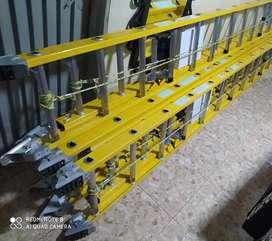 Escaleras dialécticas de extensión en fibra de vidrio 24 pasos con apoya poste, altura de 6 1/2mts ,nuevas,marca Alumina