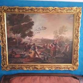 Pintura óleo La Merienda Francisco de Goya