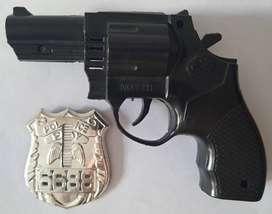 Pistola Infantil con Sonido a Fricción + Placa Policial Juguete ASP