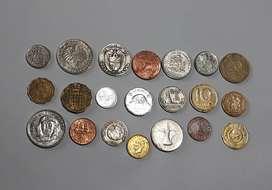 Lote de 21 monedas de 21 países, algunas inusuales y AU