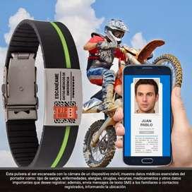 Pulsera para identificación y ubicación en caso de emergencia. bicicleta, moto, casa, apartamento, carro, teléfono