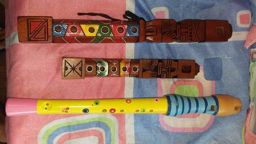 Flautas en madera juego por tres