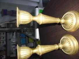 candelabros juego por dos en broce 19cm de alto x 8 diametro de base