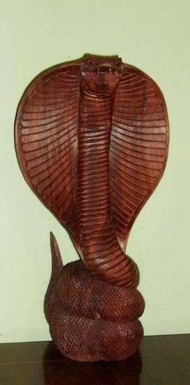 Escultura / Figura Tallada Madera Teca Indonesia Cobra 30cm