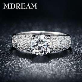 Anillos de Compromiso Oro Blanco 18k con Diamantes Aniversario Matrimonio