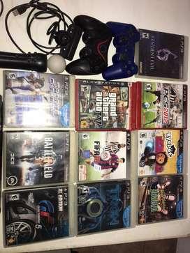 PS3 + 2 jostick + 10 juegos + Kit Move