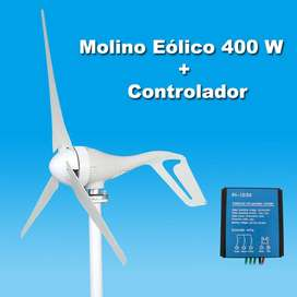 Molino Eólico 400 W Turbina Aerogenerador Con Controlador
