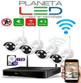 Kit 4 Cámaras Seguridad Wifi Vigilancia Inalambrico Ip 1tera