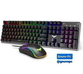 Combo Gaming Teclado Mecanico y Mouse Raton Gamer 7 Botones 4800 DPI RGB