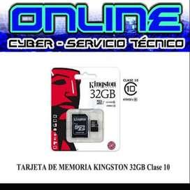 TARJETA DE MEMORIA KINGSTON 32GB CLASE 10 MAYOR= $7,80