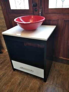 Vanitory Mueble de Baño  base de marmolina Bacha  Redonda Roja Incluye cajón con corredera  metálica  Base de marmolina