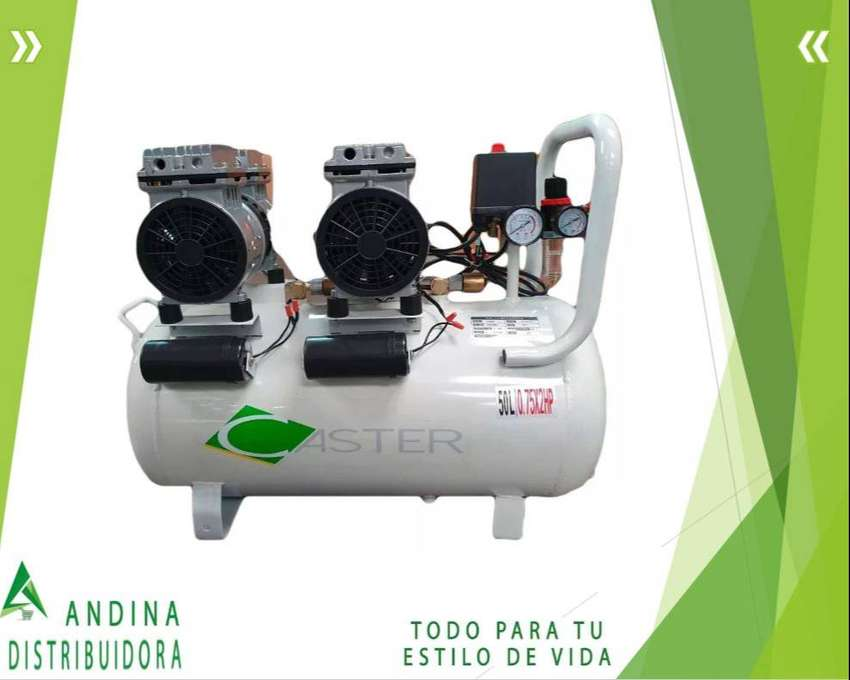 Compresor Dental S/aceite 1.5 Hp 50 Litros 110/v Caster