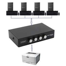 Usb Switch Impresora 4 Puertos Conectar 1 Impresora A 4 Pc