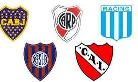 Gorras simples Boca-River-Independiente-Racing-San Lorenzo. Licencia Oficial