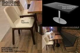 Mesa rectangular/base oval/Silla tapizada