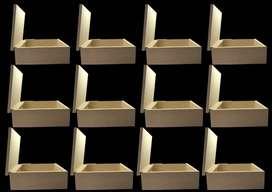 12 unidades de cofre, caja con tapa en madera  mdf ideales para regalo ,decoración, detalles , manualidades, chocolates