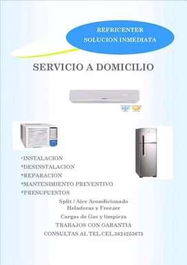 Técnico en refrigeración limpieza,carga de gas,reparacion