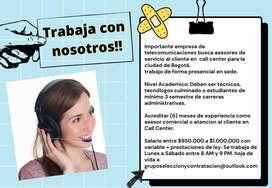 Asesores de servicio al cliente en  call center