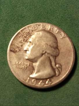 #Moneda EEUU Quarter Dollar 1944 segunda guerra