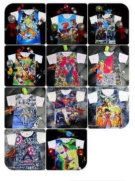 Camisetas para niños y niñas desde la talla 2 hasta la 12und 7 mil o tres unes por 20 mil