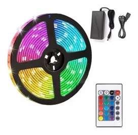 Cinta Luz Led 5 Metros Multicolor Con Control Navidad