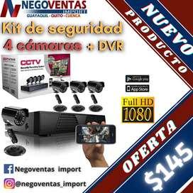KIT DE SEGURIDAD DE 4 Y 8 CAMARAS + DVR