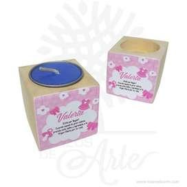 Cubos portavelas de madera de pino para personalizar Pack x 4 – Precio COP