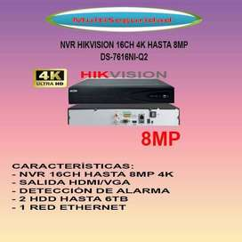 NVR 16CH HIKVISION DS-7616NI-Q2 METÁLICO 8MP 4K