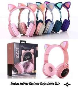 Diadema Audifono Bluetooth Orejas Gatito