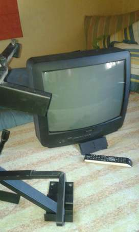 "TV color 14"" con soporte y control remoto"