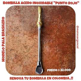 BOMBILLA PUNTO ROJO MODELO PALA BRASILERA de ACERO INOXIDABLE.!