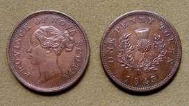 Moneda de 1 penique Nueva Escocia, Canadá 1843