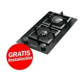 Cocina Encimera  Challenger 2 quemadores vidrio templado parrillas hierro fundido ahorra gas entre 5% a 15%