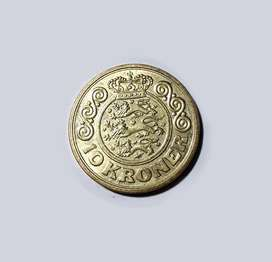 Moneda de Dinamarca, 10 coronas, 1989, XF