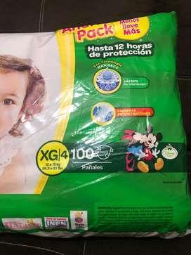 Paquete de pañales huggies XG de 100 unidades