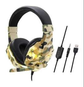Headset Auriculares Gamer Camuflados Seisa Luces Hy-830mv
