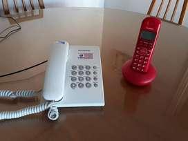 2 teléfonos Panasonic,uno de cable y otro inalámbrico