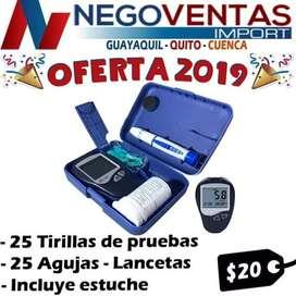 GLUCÓMETRO MEDIDOR DE GLUCOSA INCLUYE 25 TIRILLAS Y 25 LANCETAS PRECIO OFERTA 20,00