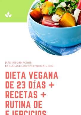 Dieta Vegana de 23 Días + Recetas + Rutina de Ejercicios