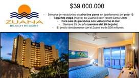 Semana de vacaciones Santa Marta - Hotel Zuana Beach Resort cinco estrellas - tiempo compartido -  apartamento playa