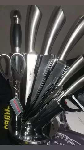 Cuchillos en acero inoxidable 8 pcs, baterías de cocina en acero quirúrgico y sarténes