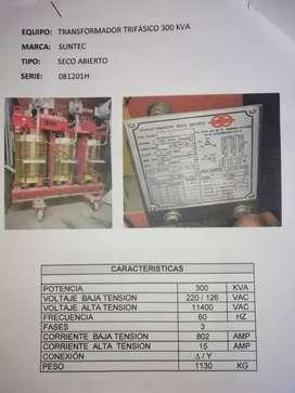 TRANSFORMADOR TRIFÁSICOS 300 KVA MARCA SUNTEC SECOABIERTOSERIE23840109