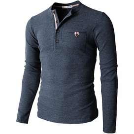 Camiseta Slim fit H2H Manga Larga Tipo Henley para Hombre