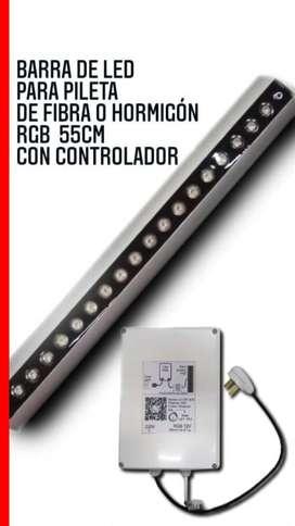 Luces Led (barra)55cm Pileta De Fibra/horm Rgb Con Controlador