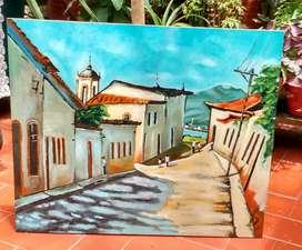 Pintura al óleo caserío