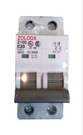 Interruptor Termomagnetico Bipolar 20a Zoloda Z150