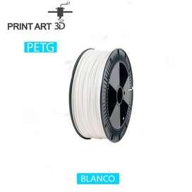 Filamento impresora 3D PETG 1 Kg. Diámetro 1.75 mm Transparente, Blanco, Negro.