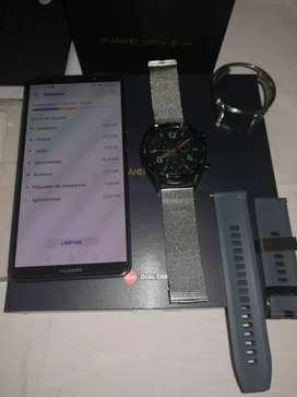 Vendo Huawei mate 10 pro y Reloj inteligente Gt  con sus accesorios originales